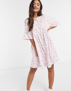 Read more about Asos design mini smock dress with frill sleeve in pink and white floral print
