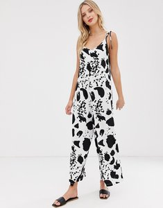 Read more about Asos design minimal jumpsuit with tie back in mono print-multi