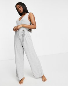 Read more about Asos design mix match lounge super soft rib jumpsuit with waist tie in grey marl