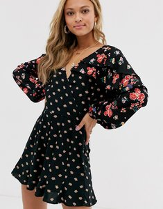 Read more about Asos design mixed floral playsuit with ruffle sleeve-multi
