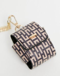 Read more about Asos design monogram print headphone case with necklace strap-multi