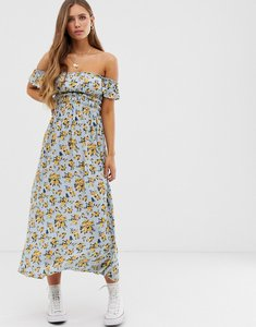 Read more about Asos design off shoulder crinkle maxi dress in ditsy floral print-multi