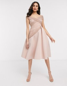 Read more about Asos design off shoulder dobby midi prom dress in rose-pink