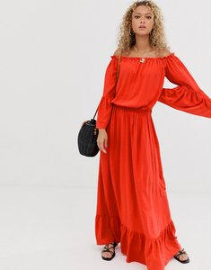 Read more about Asos design off shoulder maxi dress in crinkle-red