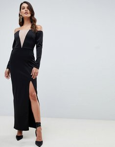 Read more about Asos design off shoulder maxi dress with mesh insert-black