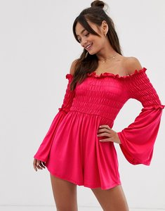 Read more about Asos design off shoulder playsuit with shirred bodice and flare sleeve-multi