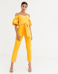 Read more about Asos design off shoulder puff sleeve jumpsuit with belt-yellow