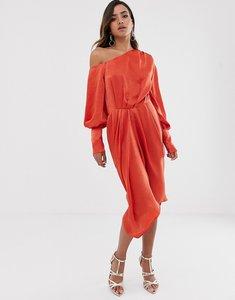 Read more about Asos design one shoulder blouson midi dress in washed satin-orange