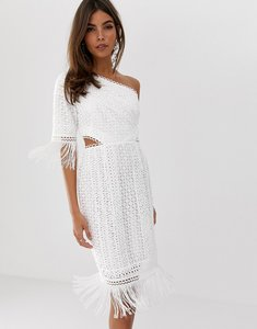 Read more about Asos design one shoulder mini dress in cutwork lace with fringe hem-white