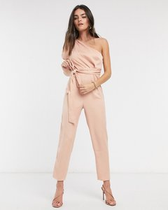 Read more about Asos design one shoulder puff sleeve jumpsuit in blush-pink