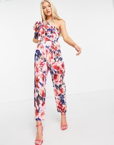 Read more about Asos design one shoulder puff sleeve jumpsuit in floral-multi