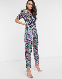 Read more about Asos design one shoulder puff sleeve jumpsuit in pink smudged floral print-multi