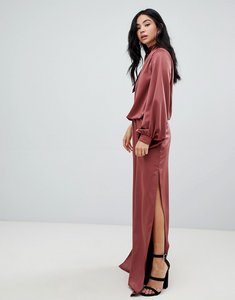 Read more about Asos design one shoulder satin jumpsuit with blouson sleeve-black