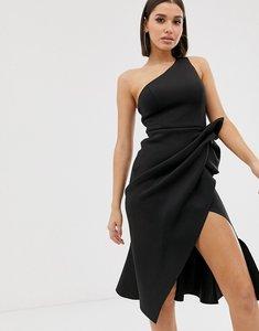Read more about Asos design one shoulder tuck detail midi dress in black