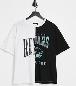 Read more about Asos design oversized t-shirt with spliced band graphic-brown