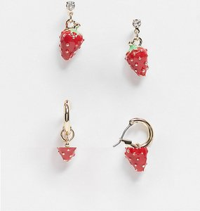 Read more about Asos design pack of 2 earrings with strawberry charms in gold tone
