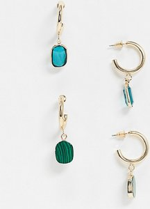 Read more about Asos design pack of 2 hoop earrings with green stone and crystal bead charms in gold tone