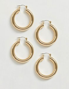 Read more about Asos design pack of 2 tube hoop earrings in gold tone