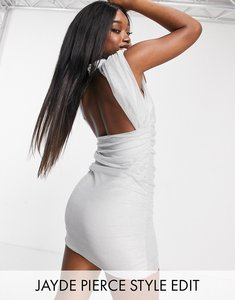 Read more about Asos design padded shoulder mini disco dress with cut out back detail in silver