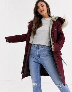 Read more about Asos design parka with detachable faux fur liner in oxblood-purple