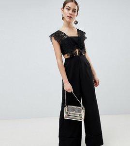 Read more about Asos design petite lace top jumpsuit with wide leg-black
