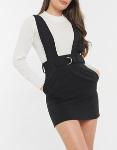 Read more about Asos design pinafore with d ring belt detail in black