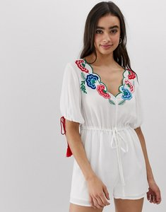 Read more about Asos design playsuit with embroidery and tie sleeve detail-white
