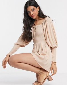 Read more about Asos design playsuit with shirred bodice and sleeves in stone-multi