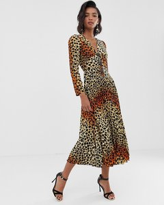 Read more about Asos design pleated maxi dress with coconut buttons in leopard print-multi