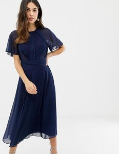 Read more about Asos design pleated panelled flutter sleeve midi dress with lace inserts-navy