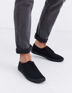 Read more about Asos design plimsolls in black canvas