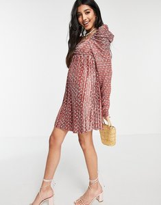 Read more about Asos design plisse ruched mini dress with ruched long sleeve in rust floral-red