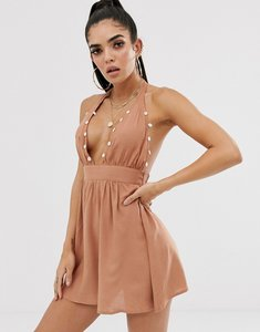 Read more about Asos design plunge front beach sundress with shell trim-brown
