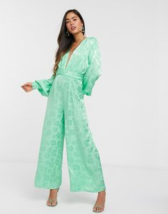 Read more about Asos design plunge jacquard jumpsuit with ruched waist detail in green