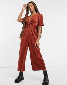 Read more about Asos design plunge knot front cord jumpsuit in brown