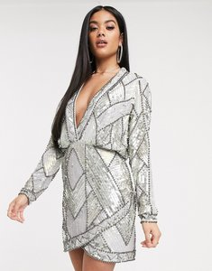 Read more about Asos design plunge mini dress with long sleeves and patched embellishment-blue