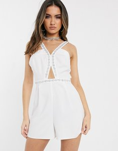 Read more about Asos design plunge playsuit with embellished trim straps-white