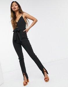 Read more about Asos design plunge split leg jumpsuit in black crepe