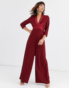 Read more about Asos design plunge tux jumpsuit with wide leg-red