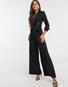 Read more about Asos design plunge tux jumpsuit with wide leg in black