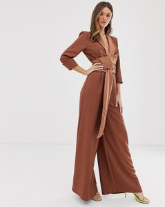 Read more about Asos design plunge tux jumpsuit with wide leg in brown