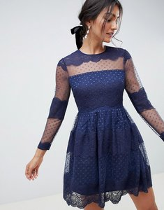 Read more about Asos design premium lace dobby mesh mini dress with long sleeves-navy