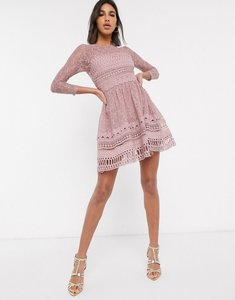 Read more about Asos design premium lace mini skater dress in mink-pink