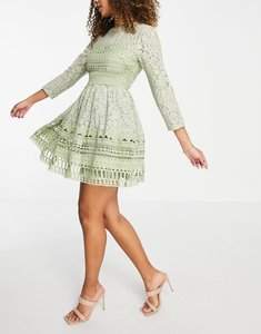 Read more about Asos design premium lace mini skater dress in sage green