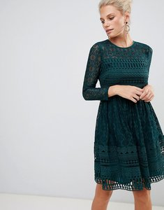 Read more about Asos design premium lace mini skater dress with long sleeves-green