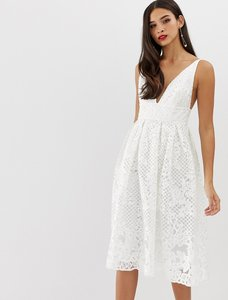 Read more about Asos design prom midi dress with plunge neck in corded lace-white