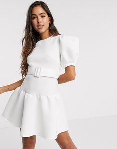 Read more about Asos design puff sleeve belted skater mini dress with pep hem-multi