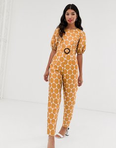 Read more about Asos design puff sleeve buckle belted jumpsuit in jacquard spot print-multi