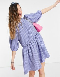 Read more about Asos design puff sleeve playsuit in blue check-multi