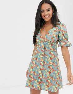 Read more about Asos design puff sleeve tea dress in floral print-multi